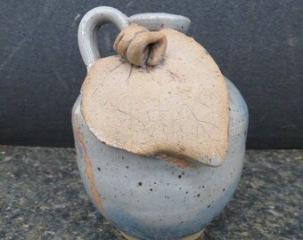 Mother of Earth Clay Jug with Leaf accent, Blue Flakes on Blue, 6' , In Excellent Condition, w Reduced Shipping