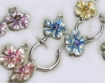 Vintage Silver Hoops with Five different colored flowers , One color for each day, Very Good Condition, Reduced Shipping
