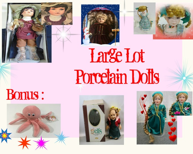 Porcelain Doll collection, Set of Five Vintage Dolls , with a bonus Vintage Beanie Baby Pink Octopus. Reduced shipping