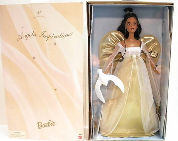 1999 Avon Angelic Barbie in the original box, Never removed, African American Angel Barbie in her White Gown with Gold Wings