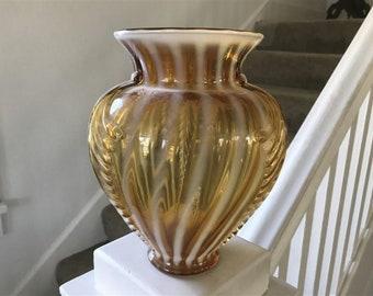 """Vintage Fenton Optic Gold/Bronze  Spiral Opalescent 12"""" Vase , 1950's Era, Excellent Condition, with Free  Shipping"""