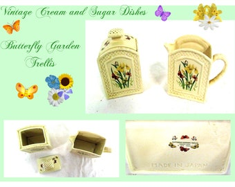 Butterfly Garden Trellis Ceremic Cream and Sugar Dishes, 1978 Vintage Enesco  Set, Excellent Condition, W/ Reduced Shipping