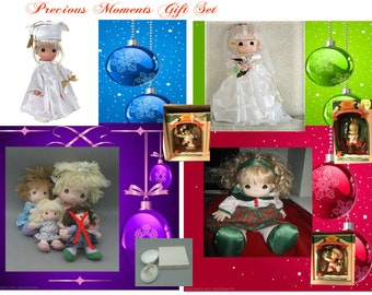 Precious Moments Christmas Gift Set with Several Dolls, Three Christmas Ornaments New, All items show in photo's are included in this Set