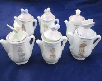 Shabby Chic Precious Moments by Enesco Six Mini Tea Pot Spice Containers, In Excellent Used Condition, Christmas Gift Idea