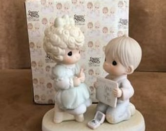 """Wedding Gift, Vintage Precious Moments Figurine from 1987 """"Wishing you a perfect choice """" Excellent Condition with no Cracks or chips"""