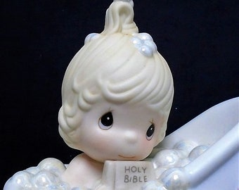 Precious Moments Figurine in the original box, He Cleanses My Soul, from 1985, Like New with no cracks or chips, Reduced Shipping
