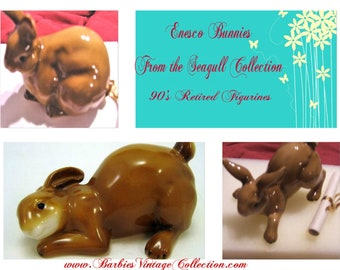 "Enesco Bunnies from "" The Seagull Collection "" made in the 90's, Figurines In Excellent Condition with Reduced Shipping"