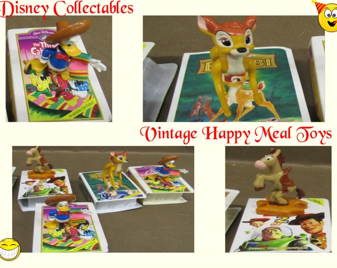 1996 Disney Happy Meal Toys in the original boxes, Bambi, Donald Duck, Horse from Toy story, Five toys included