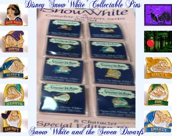 Vintage Snow White Limited Edition Collectable Pins in the original unopened package, Free Shipping