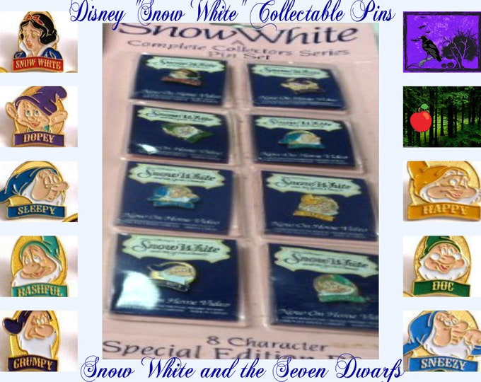 Vintage Snow White Limited Edition Collectable Pins in the original unopened package, These Disney Collectable Pins great for any collector