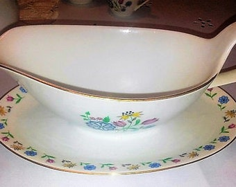 Brigitta by Bohemia Ceramic-Gravy Boat with Attached Underplate- Vintage China , Excellent Condition W/ REDUCED SHIPPING