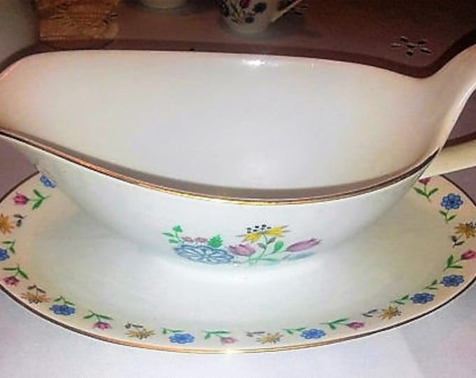 Grandmother or Mother Gift - Brigitta by Bohemia Ceramic-Gravy Boat with Attached Underplate- W/ REDUCED SHIPPING