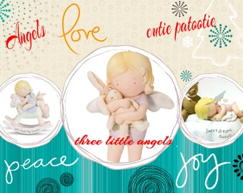 Cutie Patootie Angels  by Homeco, Set of Three, In Boxes, Perfect little Angels for Christmas Gifts, - Excellent Condition