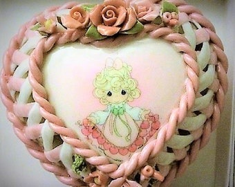 """Precious Moments Trinket Heart Shaped Box for any Little Girl ,""""You have touched so many hearts"""".  Great  Gift"""