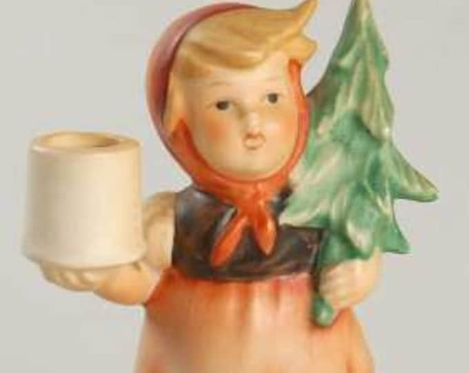 Vintage Collectable Hummel Girl with Fir Tree Candleholder , Perfect Christmas Decor for your Holiday Parties, You will love her !