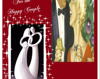 """Christmas Wedding Bride and Groom, Enesco Circle of Love """"Forever"""" With Wood Base Large Figurine- Excellent condition- With Free Shipping"""