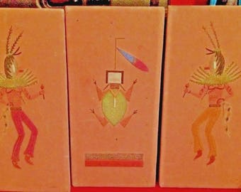 Fathers Day Gift Idea, Vintage Original Sand Art of Kachina Dancers- Set of 3- Orignated from Arizona Auction