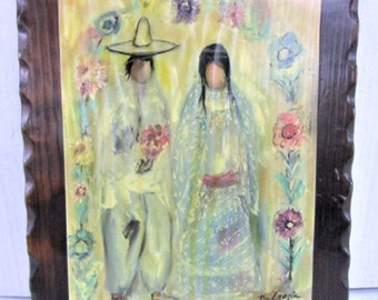 De'Grazia Celebracion del Matrimonio, Art on Wood, Beautiful Piece, Free Shipping