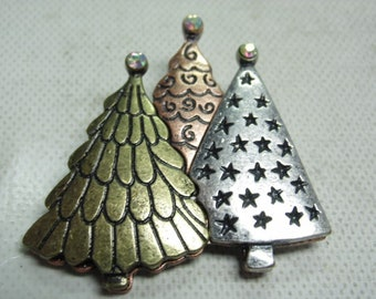 Vintage Christmas Tree Pin, Three Christmas Trees, Copper, Silver and Gold tone, This Pin looks really nice with a good clasp