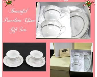 This Beautiful and Elagant D' Moda Italian Coffee Fine Porcelian China Set  ,by Loren, Set of 4 Pieces , New in Original Box, Christmas Gift