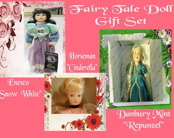 PRICE REDUCED Fairy Tale Doll Gift Set- Snow White, Repunzel and Cinderella Dolls-  With Reduced Shipping