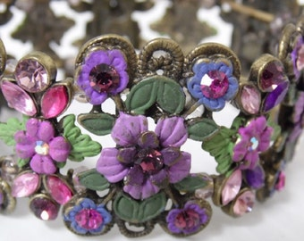 Women's Vintage Bracelet, Costume Lilac Ruby Flowers with Green leaves, Strech, with Bronze Tone Metal, Beautiful, Reduced Shipping