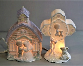 Precious Moments Collectable Church and Cross Night Lights, Both in Excellent Condition