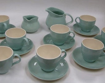 Coffee Serving Set of Retro Coffee Cups w/ Saucers , Cream and Sugar Dish,   Teal Blue with White interior, Very Clean Look, Round Top.