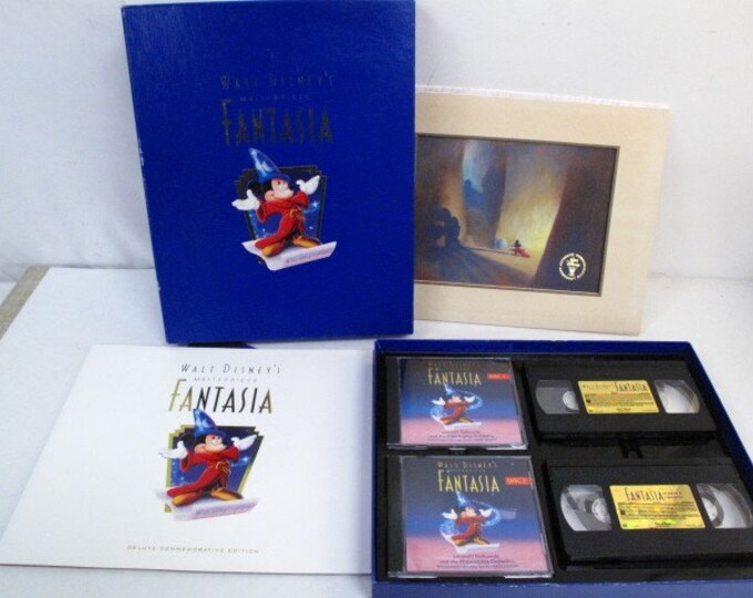1991 Limited Edition Disney Fantasia VHS & CD Set, Originals from Disney, Documents as one of the best Disney Collector items.