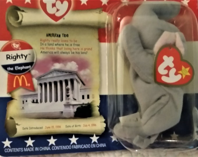 Beanie Babies , Collectable  McDonalds Toys for Collector, Great Fathers Day Gifts, Donkey & Elephant, W. Reduced Shipping
