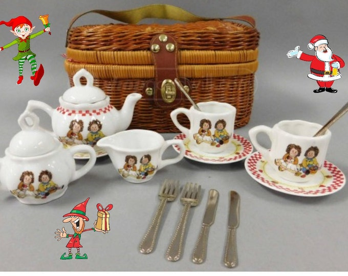 Toys- Raggaty Ann and Andy  Miniature Tea Set by Delton - in  Wicker Basket