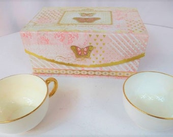"Antique 1800's ""Mintons"" Gold-Trim Porcelain China Tea Cups with Decorative Box, Vintage , With Reduced Shipping"