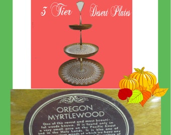 Rare Vintage Oregon Myrtlewood Three Tier Serving Plate, Made from Myrtlewood, GO GREEN. Recycle all Myrtlewood items to preserve it.