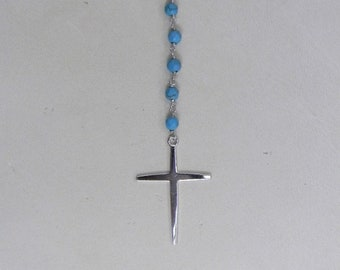 Vintage Genuine Turquoise with Sterling Silver Chain and Cross Necklace, Stone verified, 2.0 CTTW, In Excellent Condition, Reduced Shipping
