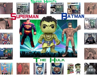Super Hero Toys that include Superman, Batman, Hulk, Funko Pops, DC Comic Super Hero's, in Excllent Used and New Condition, Free Shipping