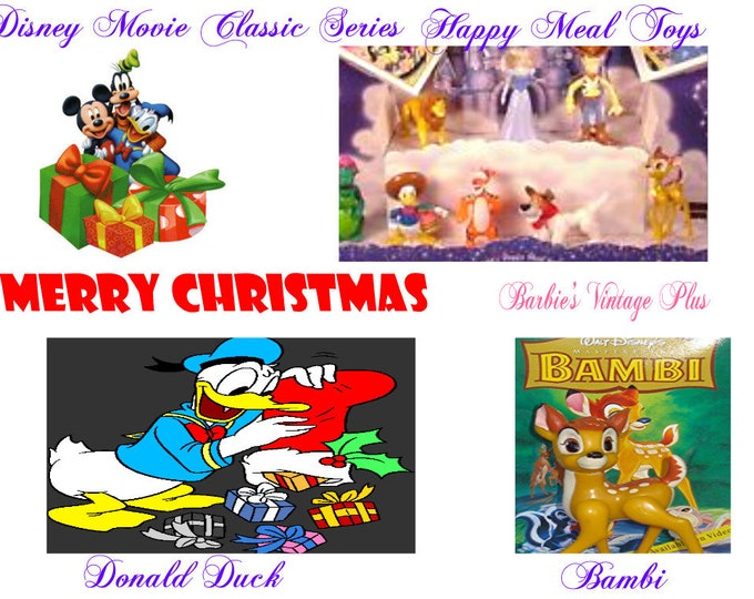 1996 Disney Happy Meal Toys in the original boxes, Bambi, Donald Duck. Cute Stocking Stuffers for the little one on your list, Safe .