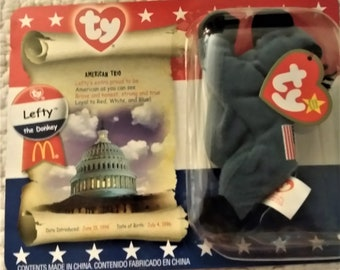 Beanie Babies ,Vintage  Collectable  McDonalds Toys for Collector, Great Fathers Gifts, Donkey & Elephant, W. Reduced Shipping