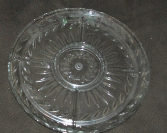 Vintage Crystal Cut Glass Divided Serving Platter with Four Sections, Excellent Condition , No chips or Cracks, Reduced Shipping