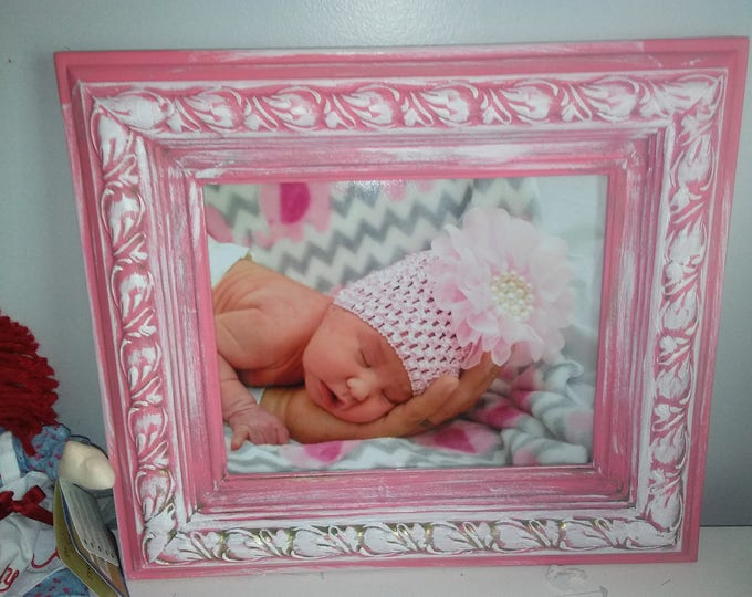 Picture Frame Shabby Chic in Pink or Blue Chalk Paint, 8 X 10,  with Reduced Shipping