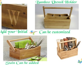 Bamboo Utensil or Tools Holder with Handle- EUC,  Great Fathers Day Project for the kids, with Reduced Shipping