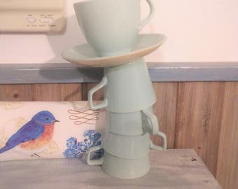 Blue Shabby Chic Kitchen ,  Coffee Cups Retro, Six Teal Coffee Cups , EUC, As a Centerpeice or not,  with Reduced Shipping