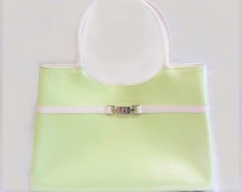 Vintage Beigo Light Green and White Handbag in Excellent Condition,  Easter Green, With Reduced Shipping