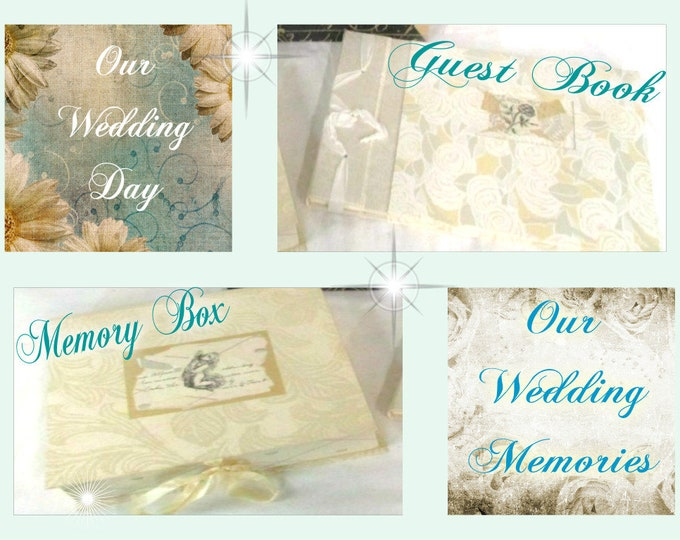 Shabby Chic  Wedding Day Guest Book and Memory Box, Vintage items never used, With reduced shipping
