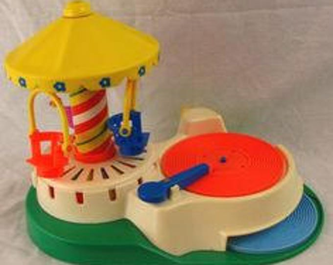 Fisher Price Musical Carousel  & 3 Discs in Great Used Condition, Vintage 1960 Toy, With Reduced Shipping