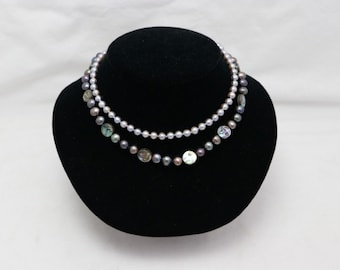 Pearls , Two Strands,  One solid gray Fresh Water Pearls  with 14k WG  Clasp /  Second  Pearls and 14k YG clasp and Abalone Shell.