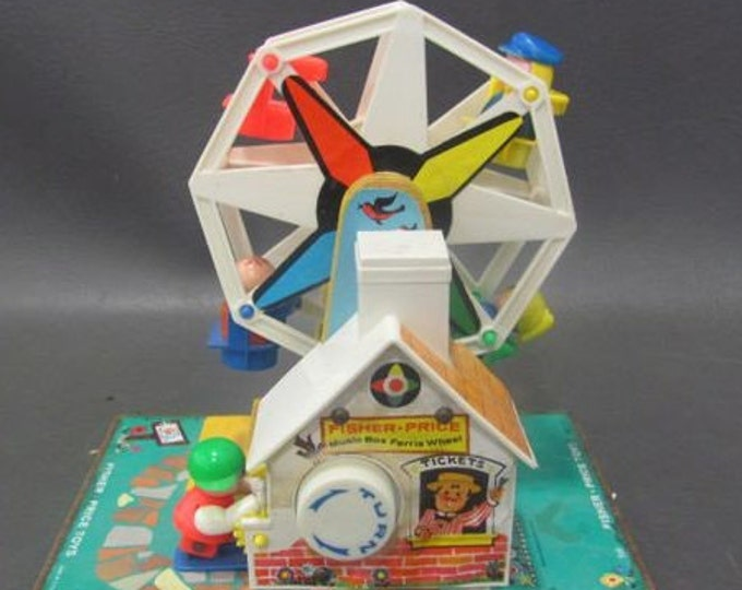 1966 Fisher Price Musical Ferris Wheel with Little People, Vintage Collectalbe Toy from the 60's, With Reduced Shipping