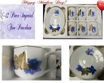 Imperial Fine Porcelain Coffee Set , From Russia, 12 Pieces, in the Original Box, Excellent Condition,  With Reduced Shipping