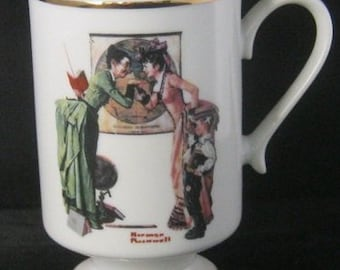 Host Gift Norman Rockwell Collectables Gift Set, With Four Coffee Mugs, Two Vintage Christmas Ornaments , Reduced SHIPPING