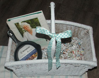 Mothers Day Gift Basket , Large Basket with Handle, Cook Book Journal and small Cast Iron Pan, With Free Shipping