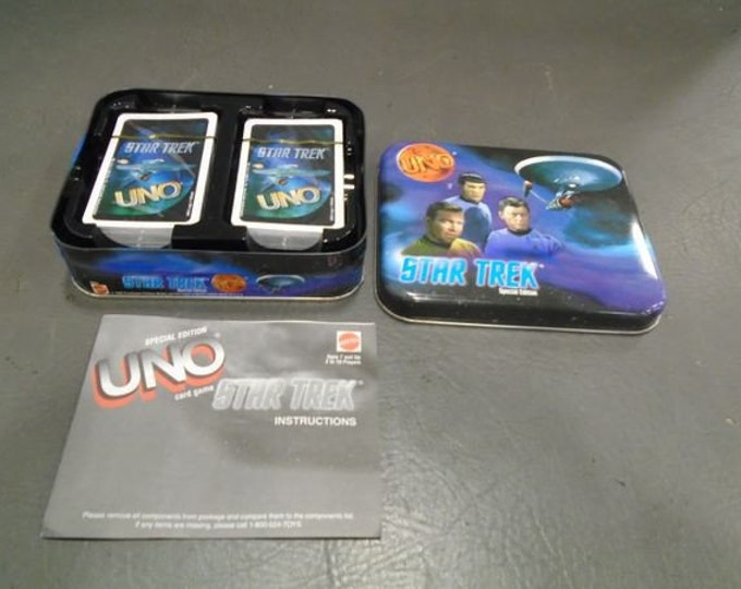 1999 Star Trek Uno Game in Collectable Tin, Cards are New and Never Used, This Vintage Uno game is a Collectable.